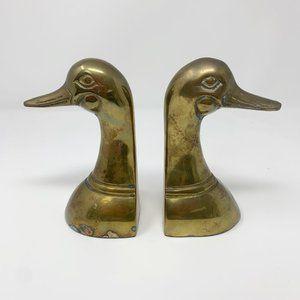Vintage Leonard Brass Duck Mid Century Book Ends